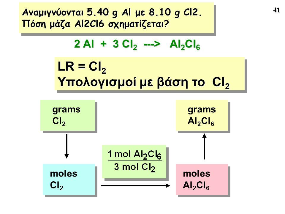 Αναμιγνύονται 5.40 g Al με 8.10 g Cl2. Πόση μάζα Al2Cl6 σχηματίζεται