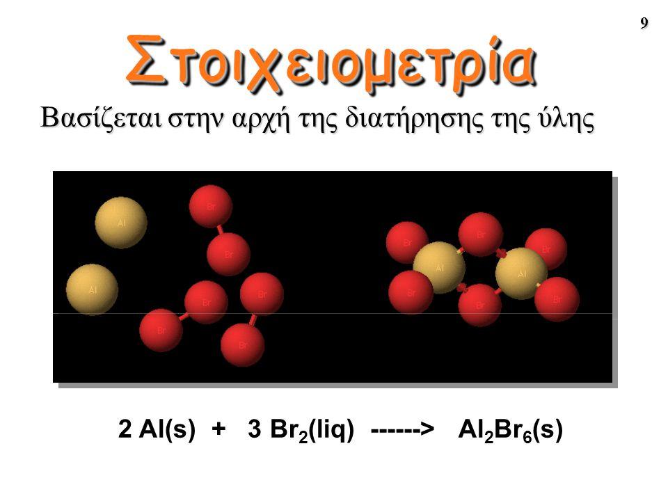 Στοιχειομετρία Βασίζεται στην αρχή της διατήρησης της ύλης