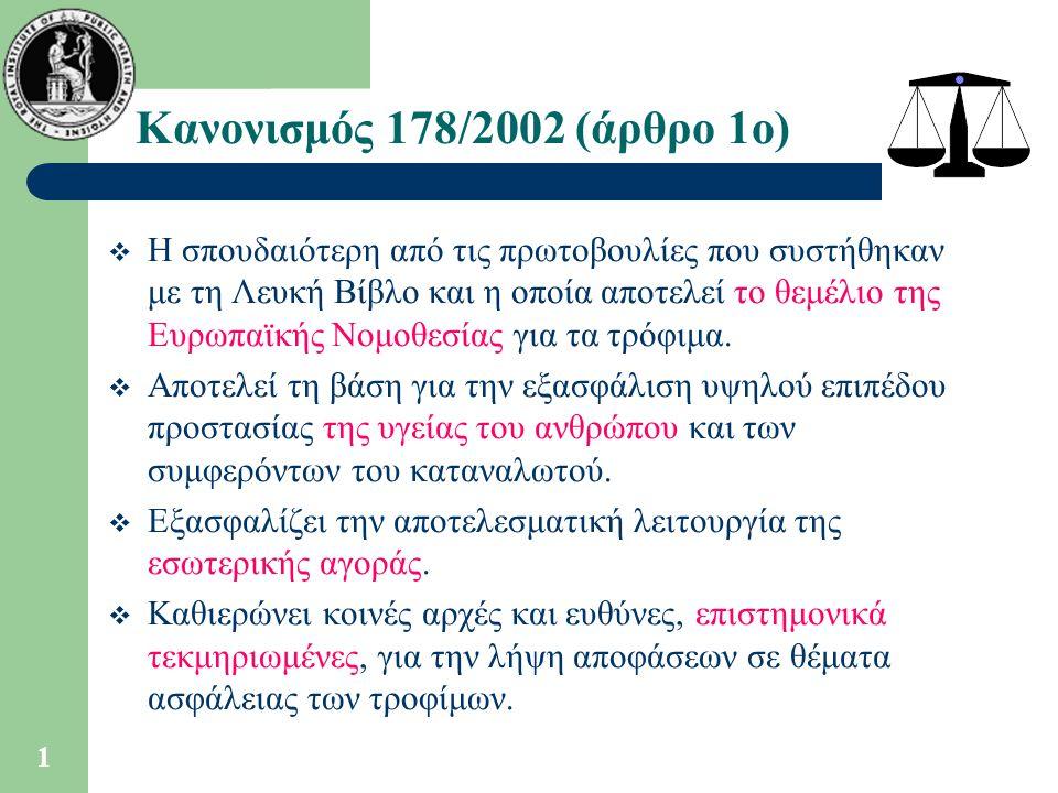 Κανονισμός 178/2002 (άρθρο 1ο)