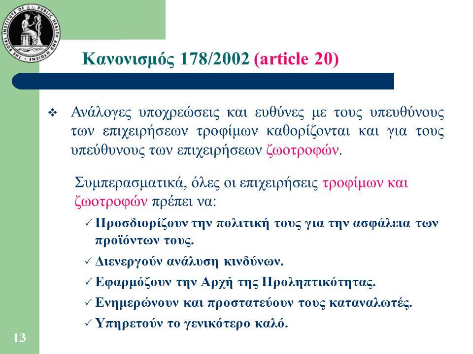 Κανονισμός 178/2002 (article 20)
