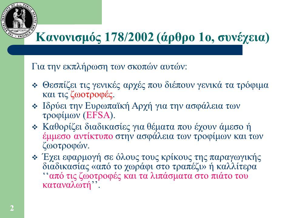 Κανονισμός 178/2002 (άρθρο 1ο, συνέχεια)