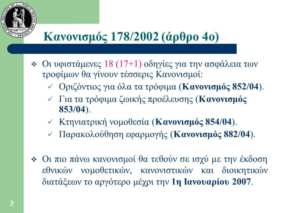 Κανονισμός 178/2002 (άρθρο 4ο) Οι υφιστάμενες 18 (17+1) οδηγίες για την ασφάλεια των τροφίμων θα γίνουν τέσσερις Κανονισμοί: