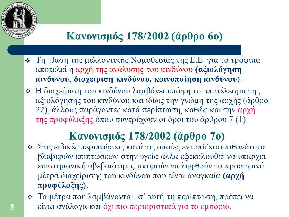 Κανονισμός 178/2002 (άρθρο 6ο) Κανονισμός 178/2002 (άρθρο 7ο)