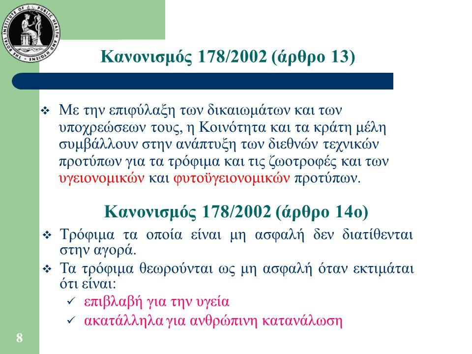 Κανονισμός 178/2002 (άρθρο 13) Κανονισμός 178/2002 (άρθρο 14ο)