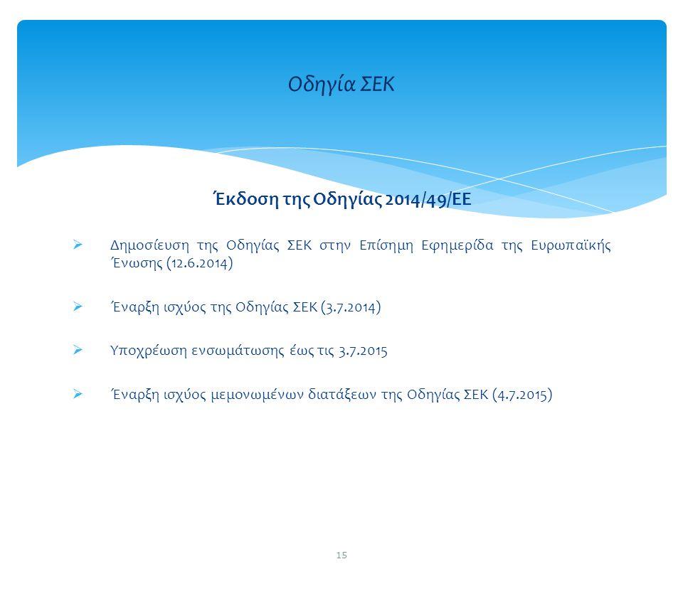 Έκδοση της Οδηγίας 2014/49/ΕΕ