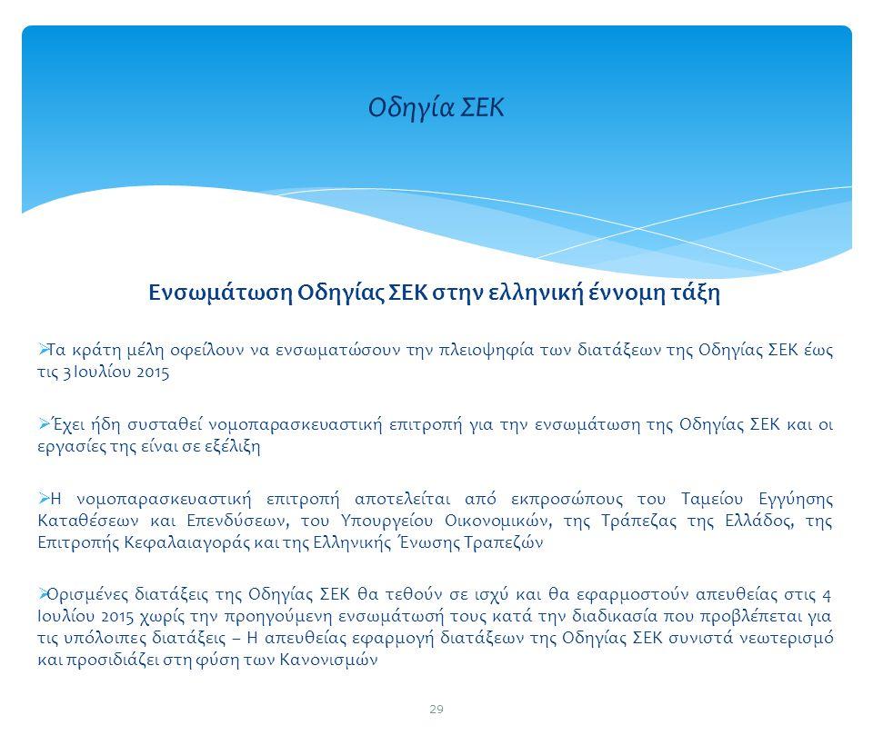 Ενσωμάτωση Οδηγίας ΣΕΚ στην ελληνική έννομη τάξη