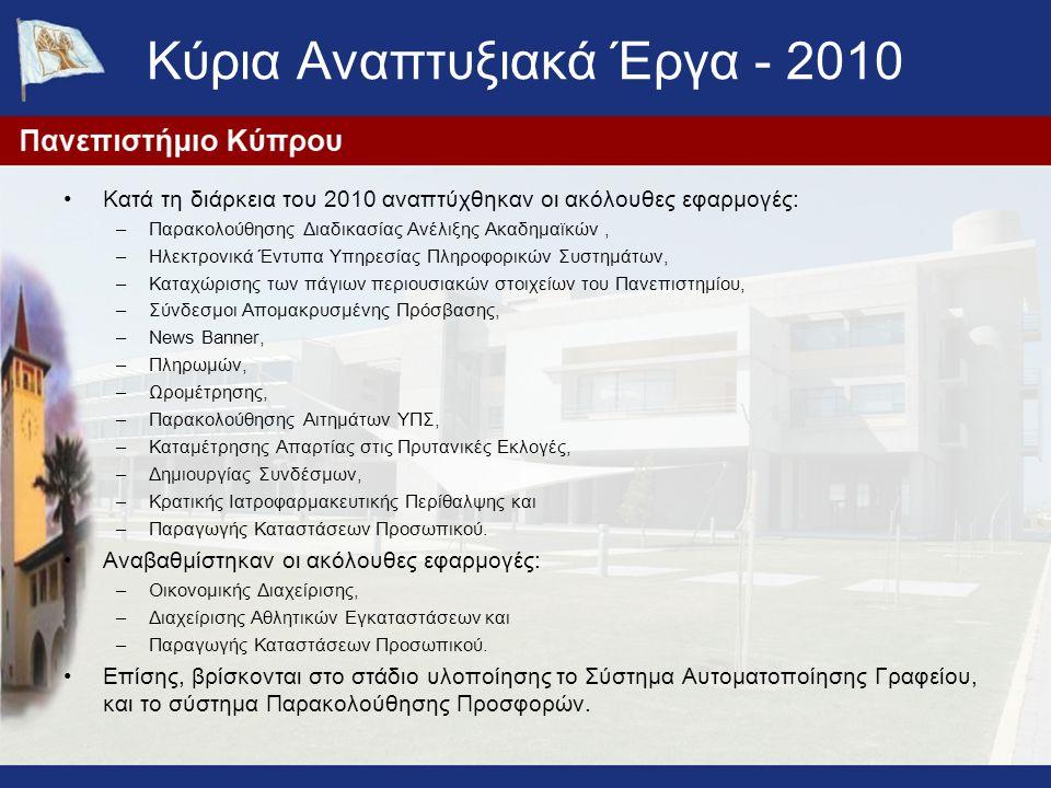 Κύρια Αναπτυξιακά Έργα - 2010
