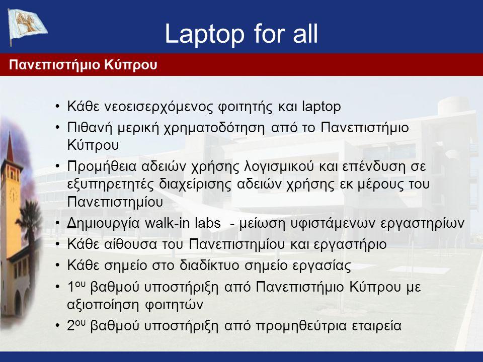 Laptop for all Κάθε νεοεισερχόμενος φοιτητής και laptop