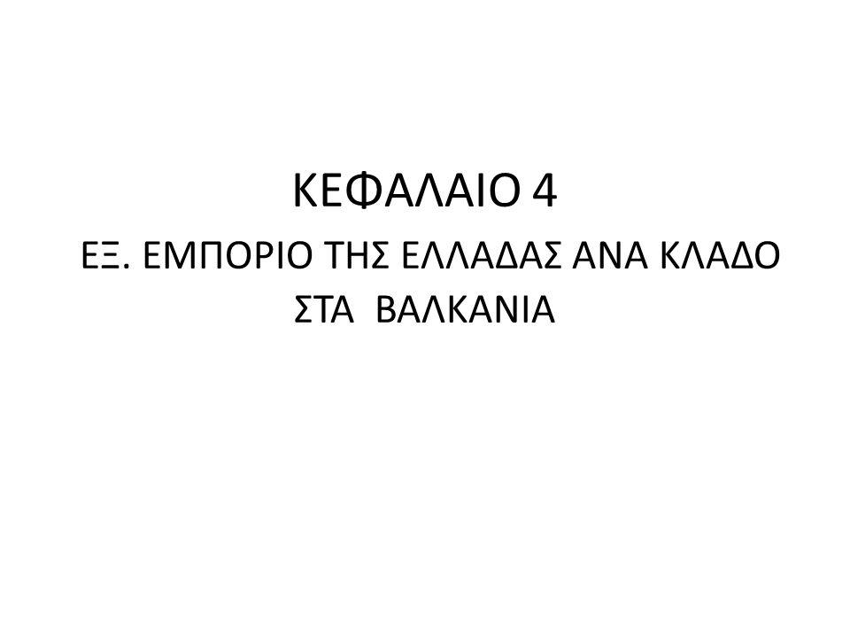 ΚΕΦΑΛΑΙΟ 4 ΕΞ. ΕΜΠΟΡΙΟ ΤΗΣ ΕΛΛΑΔΑΣ ΑΝΑ ΚΛΑΔΟ ΣΤΑ ΒΑΛΚΑΝΙΑ