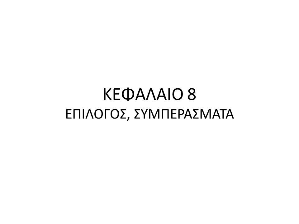 ΚΕΦΑΛΑΙΟ 8 ΕΠΙΛΟΓΟΣ, ΣΥΜΠΕΡΑΣΜΑΤΑ