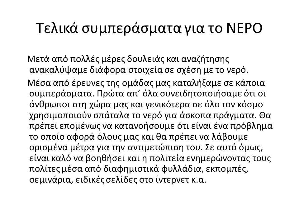 Τελικά συμπεράσματα για το ΝΕΡΟ
