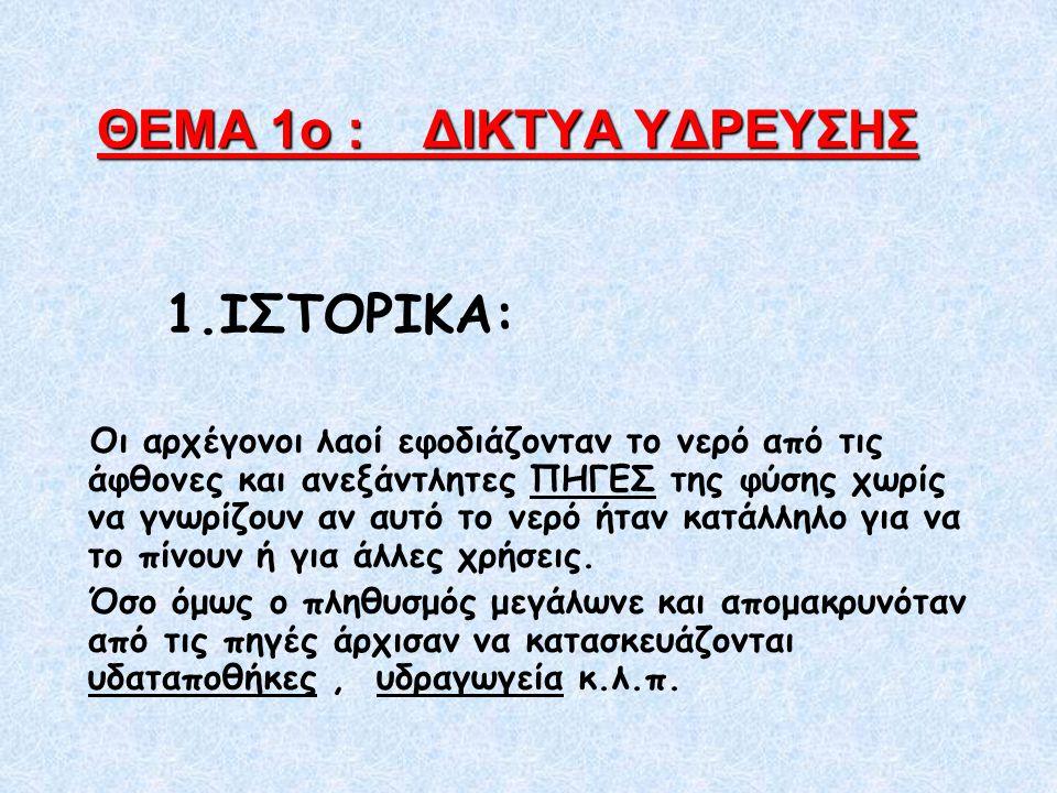 ΘΕΜΑ 1ο : ΔΙΚΤΥΑ ΥΔΡΕΥΣΗΣ