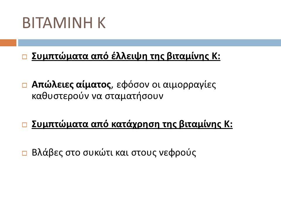 ΒΙΤΑΜΙΝΗ Κ Συμπτώματα από έλλειψη της βιταμίνης Κ: