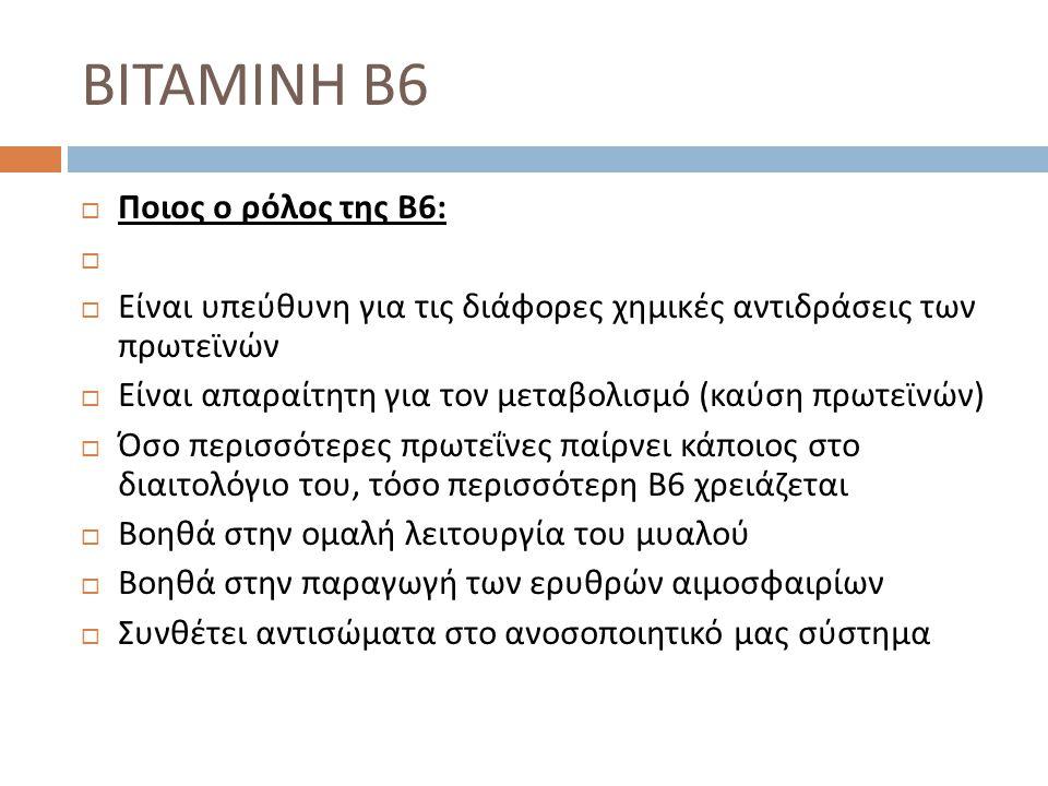 ΒΙΤΑΜΙΝΗ Β6 Ποιος ο ρόλος της Β6: