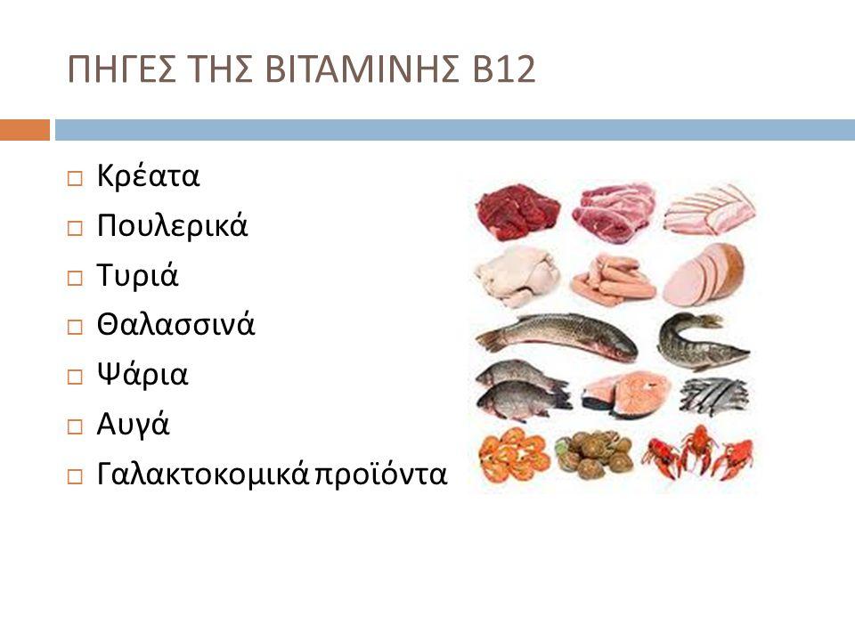 ΠΗΓΕΣ ΤΗΣ ΒΙΤΑΜΙΝΗΣ Β12 Κρέατα Πουλερικά Τυριά Θαλασσινά Ψάρια Αυγά