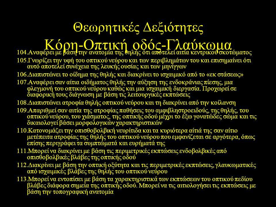 Θεωρητικές Δεξιότητες Κόρη-Οπτική οδός-Γλαύκωμα