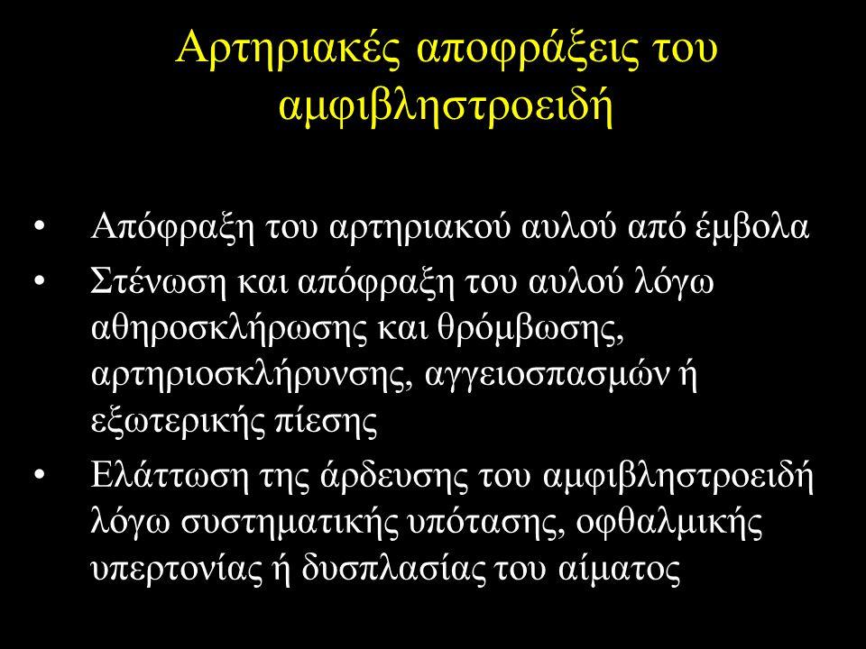 Αρτηριακές αποφράξεις του αμφιβληστροειδή