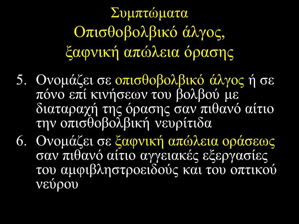 Συμπτώματα Οπισθοβολβικό άλγος, ξαφνική απώλεια όρασης