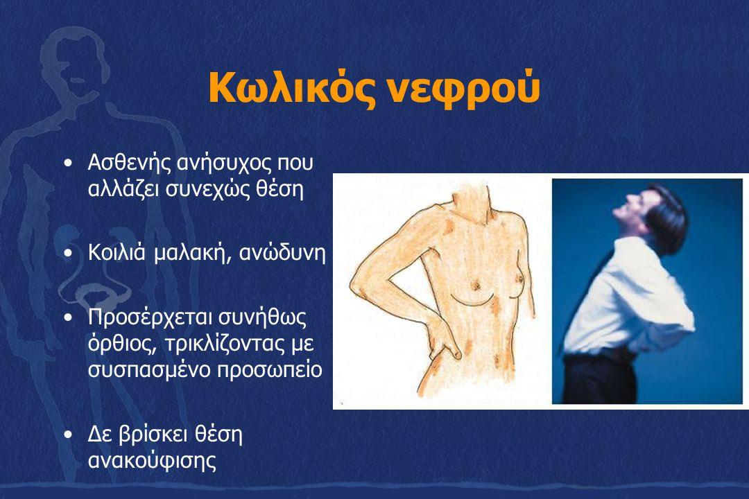Κωλικός νεφρού Ασθενής ανήσυχος που αλλάζει συνεχώς θέση