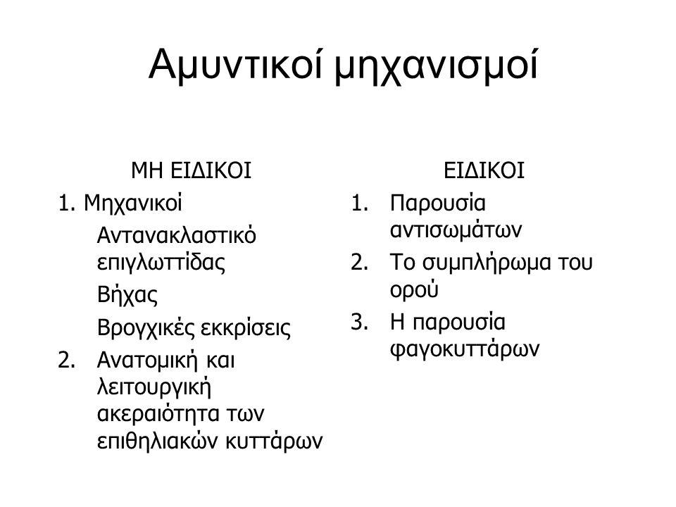 Αμυντικοί μηχανισμοί ΜΗ ΕΙΔΙΚΟΙ 1. Μηχανικοί
