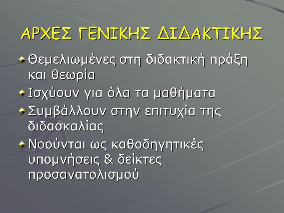 ΑΡΧΕΣ ΓΕΝΙΚΗΣ ΔΙΔΑΚΤΙΚΗΣ
