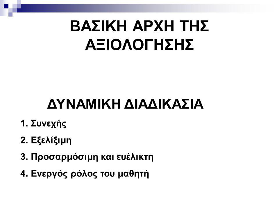 ΒΑΣΙΚΗ ΑΡΧΗ ΤΗΣ ΑΞΙΟΛΟΓΗΣΗΣ