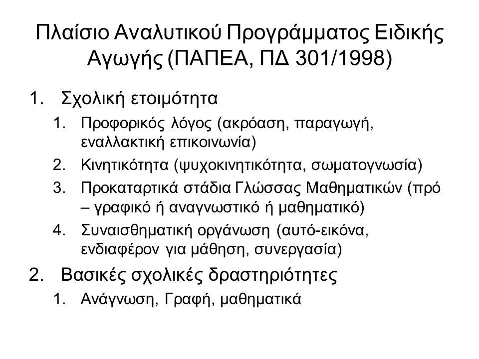 Πλαίσιο Αναλυτικού Προγράμματος Ειδικής Αγωγής (ΠΑΠΕΑ, ΠΔ 301/1998)
