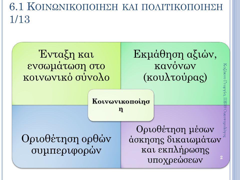 6.1 Κοινωνικοποιηση και πολιτικοποιηση 1/13