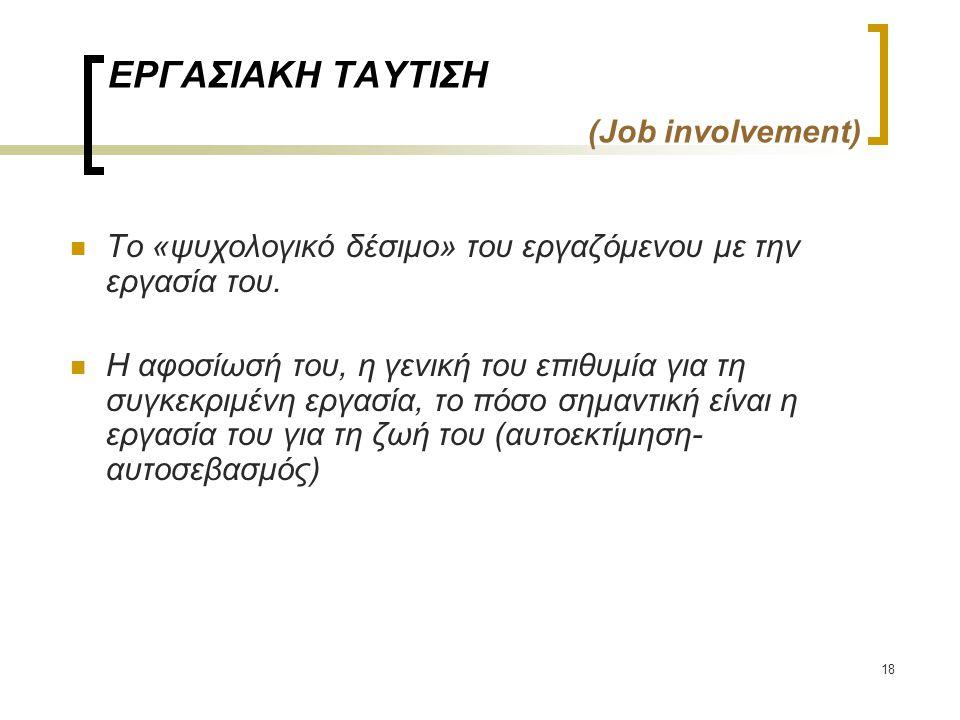 ΕΡΓΑΣΙΑΚΗ ΤΑΥΤΙΣΗ (Job involvement)