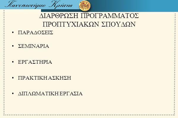 ΔΙΑΡΘΡΩΣΗ ΠΡΟΓΡΑΜΜΑΤΟΣ ΠΡΟΠΤΥΧΙΑΚΩΝ ΣΠΟΥΔΩΝ
