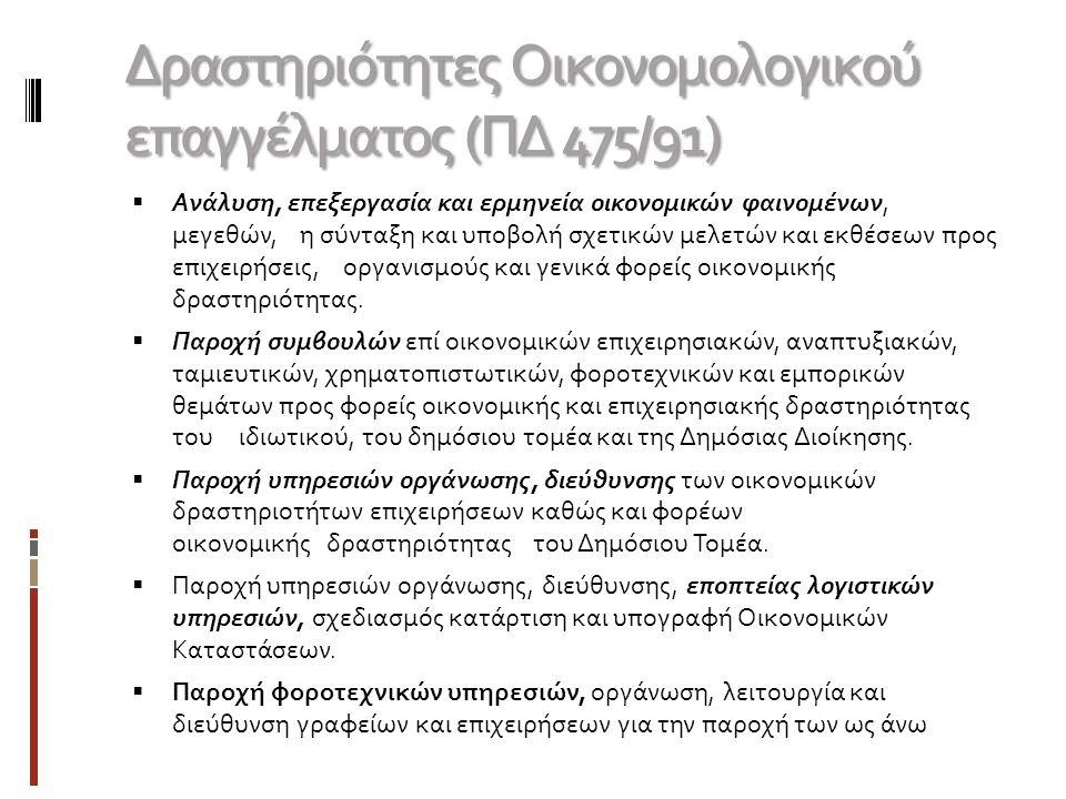 Δραστηριότητες Οικονομολογικού επαγγέλματος (ΠΔ 475/91)