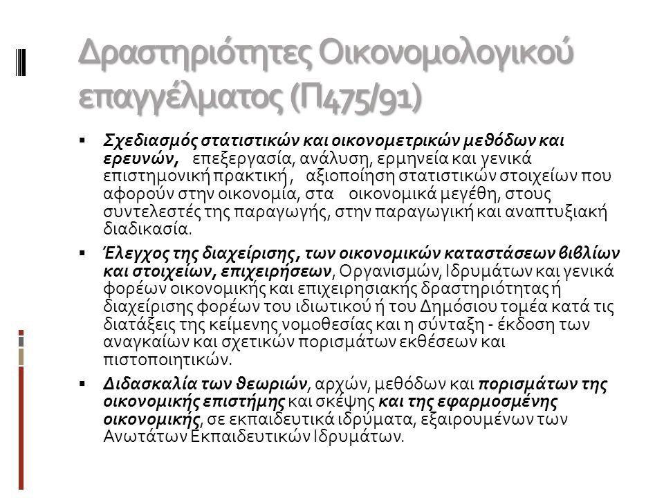 Δραστηριότητες Οικονομολογικού επαγγέλματος (Π475/91)