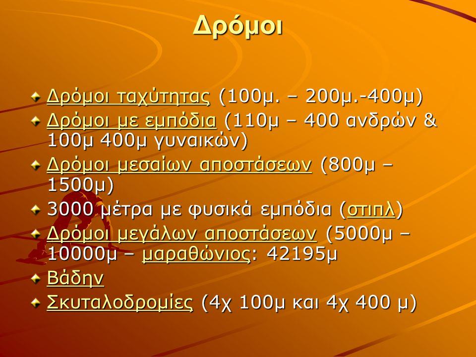 Δρόμοι Δρόμοι ταχύτητας (100μ. – 200μ.-400μ)