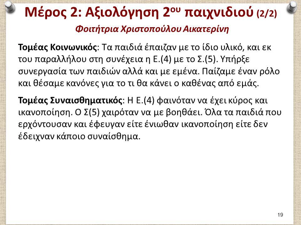 Μέρος 3: Φοιτήτρια Χριστοπούλου Αικατερίνη