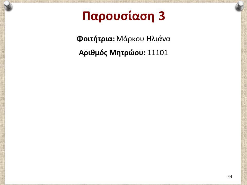 Μέρος 1: Καταγραφή 1ου παιχνιδιού Φοιτήτρια Μάρκου Ηλιάνα