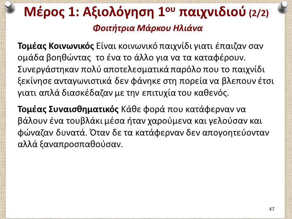 Μέρος 1: Καταγραφή 2ου παιχνιδιού Φοιτήτρια Μάρκου Ηλιάνα