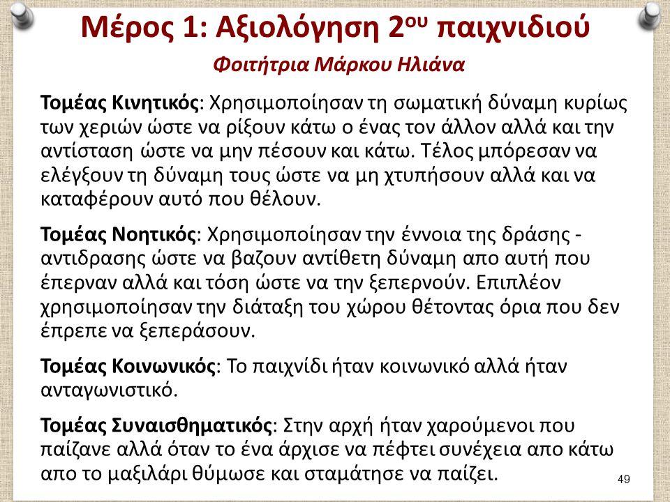 Μέρος 1: Καταγραφή 3ου παιχνιδιού Φοιτήτρια Μάρκου Ηλιάνα