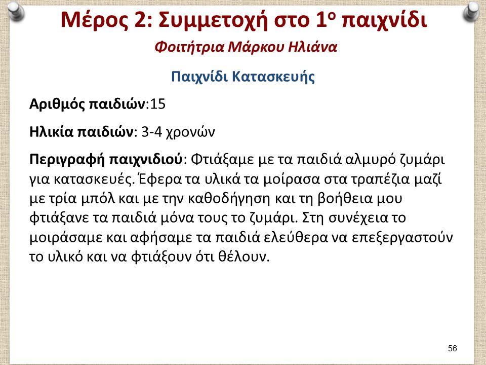 Μέρος 2: Αξιολόγηση 1ου παιχνιδιού (1/2) Φοιτήτρια Μάρκου Ηλιάνα