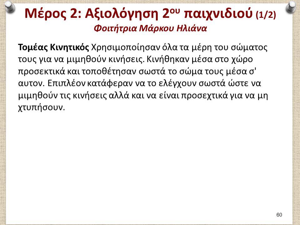 Μέρος 2: Αξιολόγηση 2ου παιχνιδιού (2/2) Φοιτήτρια Μάρκου Ηλιάνα