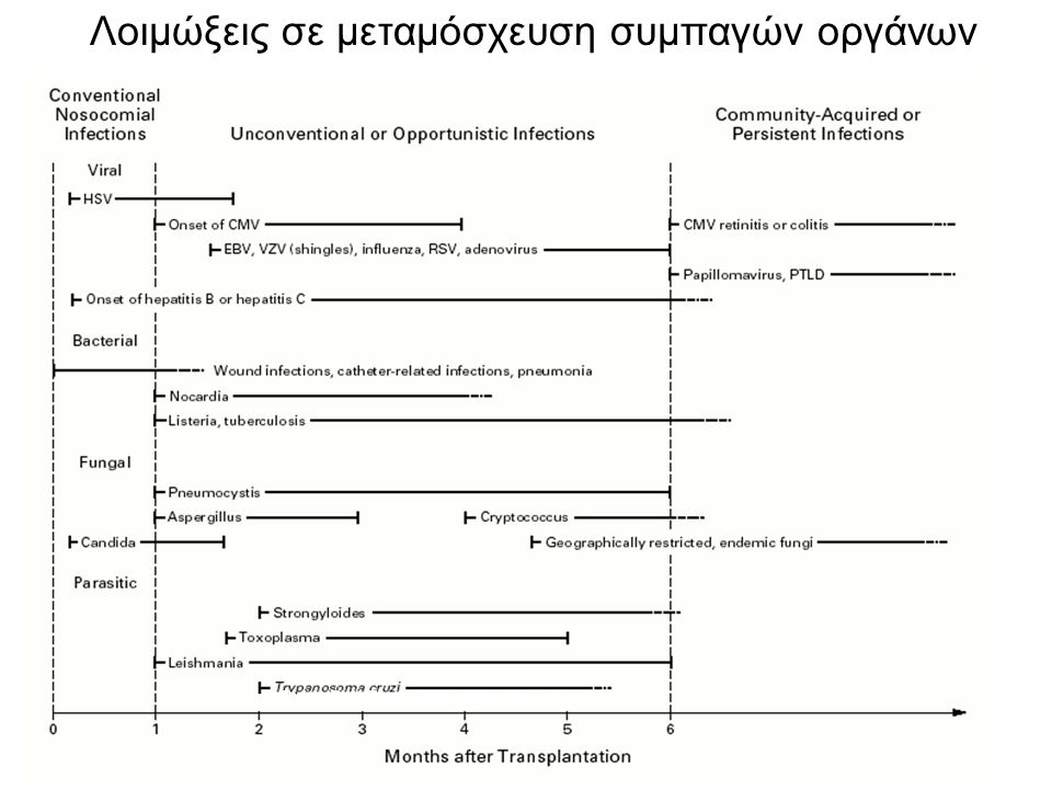 Usual Sequence of Infections after Organ Transplantation