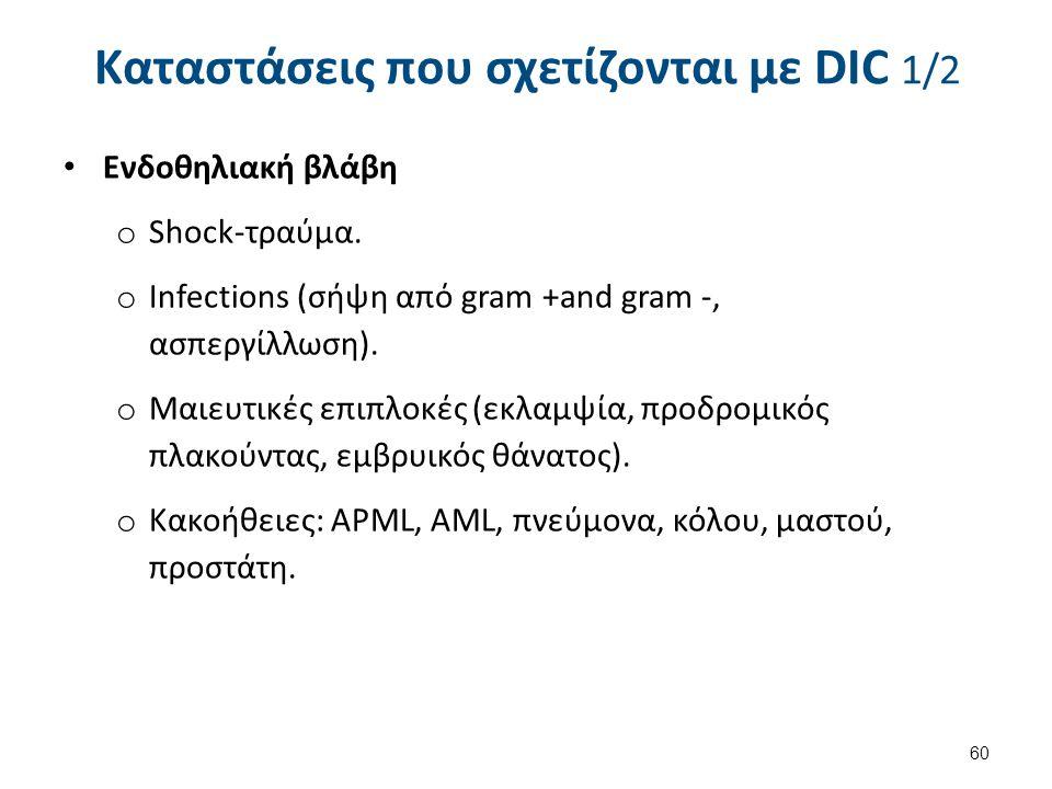 Καταστάσεις που σχετίζονται με DIC 2/2