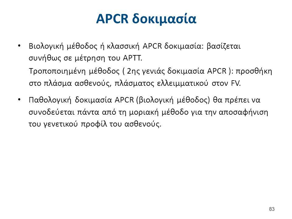 Παθολογική δοκιμασία APCR χωρίς FV LEIDEN
