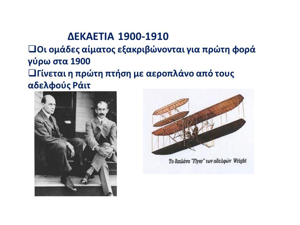 ΔΕΚΑΕΤΙΑ 1900-1910 Οι ομάδες αίματος εξακριβώνονται για πρώτη φορά γύρω στα 1900.