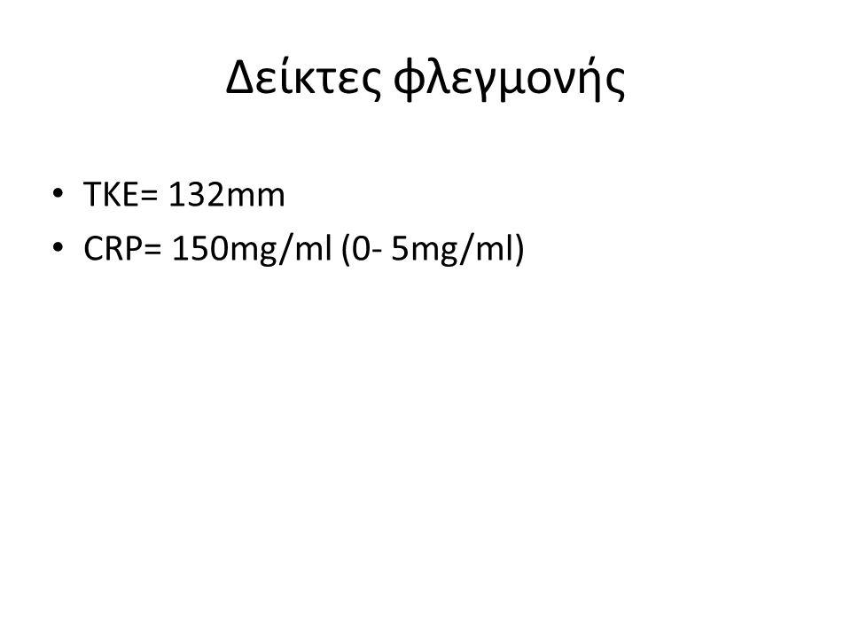 Δείκτες φλεγμονής ΤΚΕ= 132mm CRP= 150mg/ml (0- 5mg/ml)
