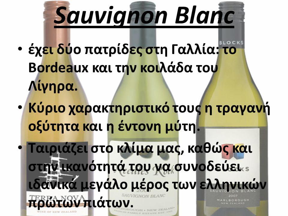 Sauvignon Blanc έχει δύο πατρίδες στη Γαλλία: το Bordeaux και την κοιλάδα του Λίγηρα. Κύριο χαρακτηριστικό τους η τραγανή οξύτητα και η έντονη μύτη.