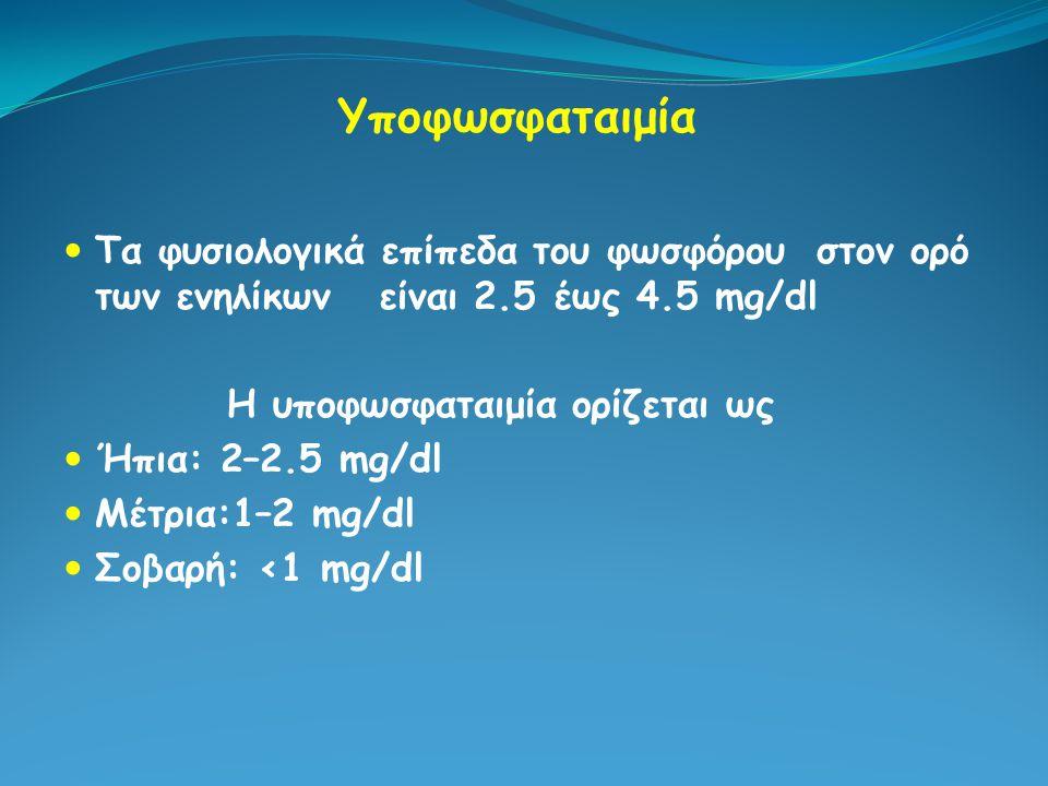 Υποφωσφαταιμία Τα φυσιολογικά επίπεδα του φωσφόρου στον ορό των ενηλίκων είναι 2.5 έως 4.5 mg/dl.
