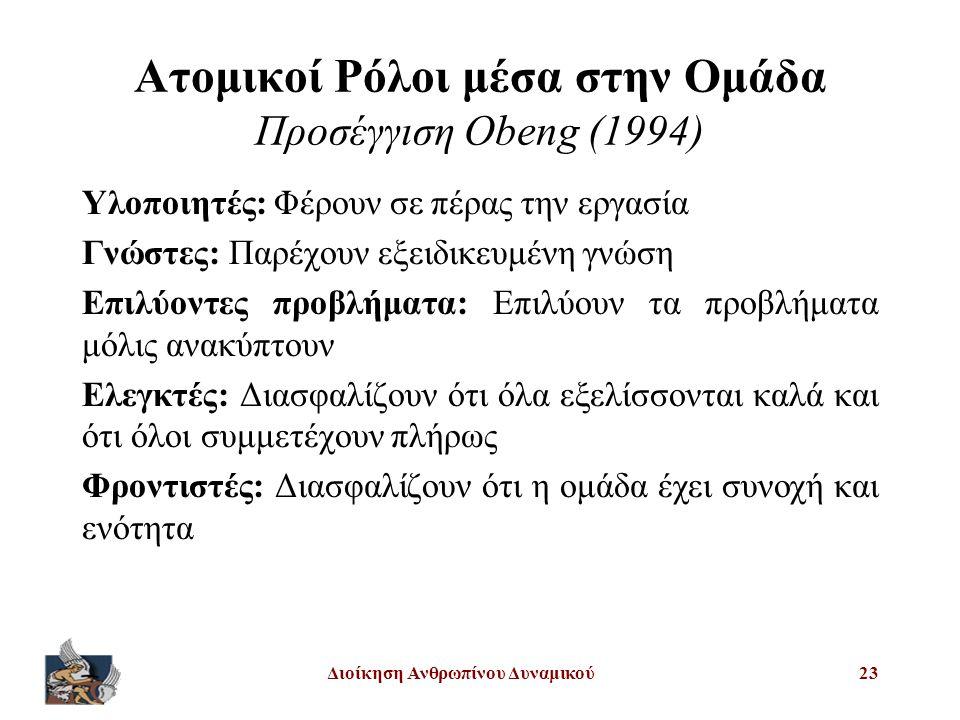 Ατομικοί Ρόλοι μέσα στην Ομάδα Προσέγγιση Obeng (1994)