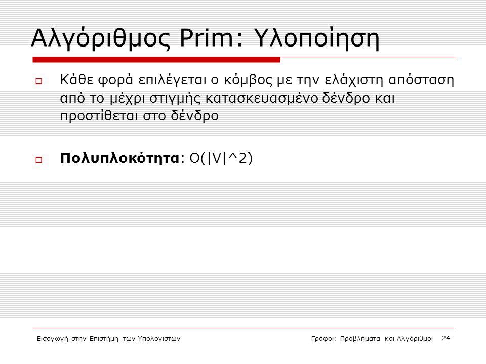 Αλγόριθμος Prim: Υλοποίηση
