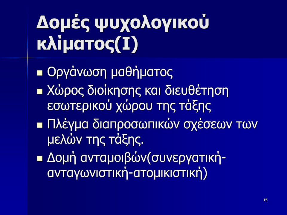 Δομές ψυχολογικού κλίματος(Ι)