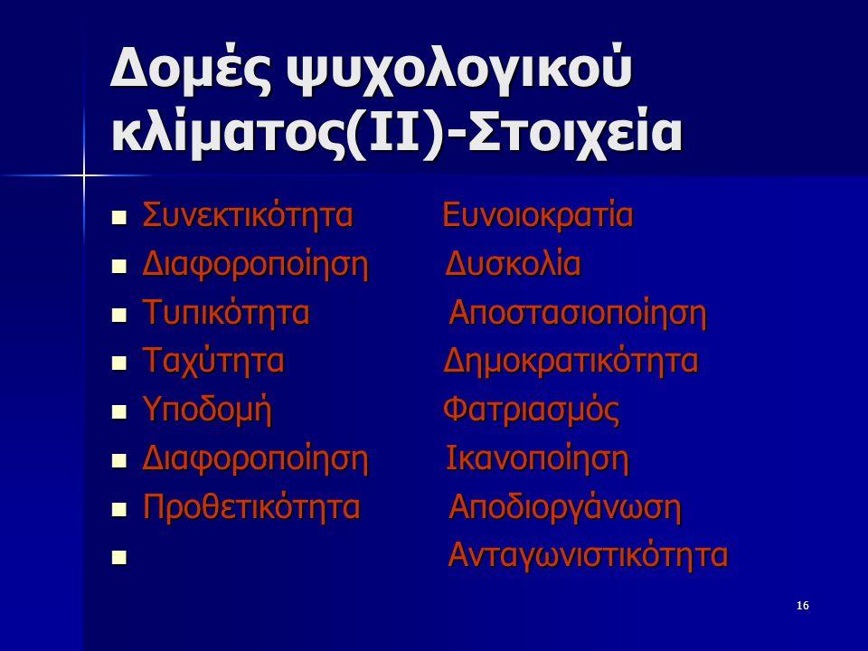 Δομές ψυχολογικού κλίματος(ΙΙ)-Στοιχεία